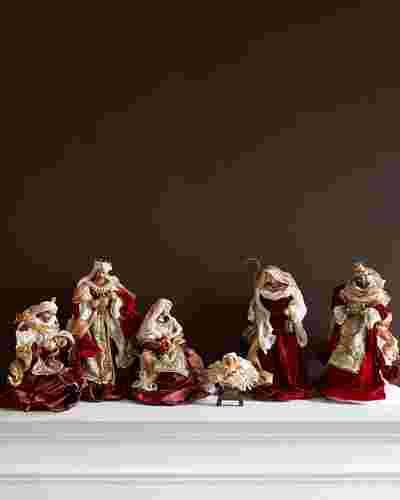Burgundy & Gold Nativity Set by Balsam Hill SSC 10