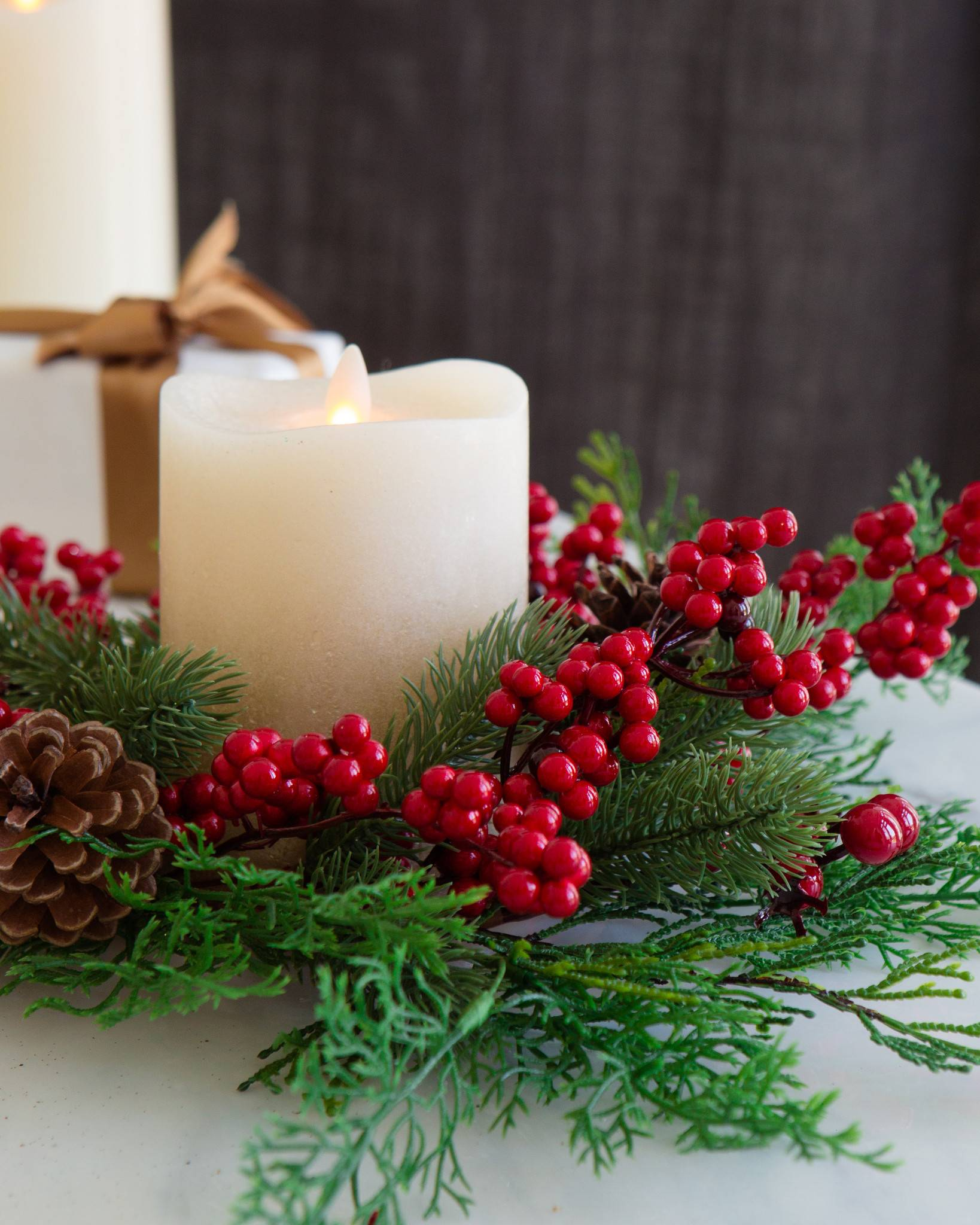 christmas pine candle rings set of 3 by balsam hill - Decorative Christmas Candle Rings
