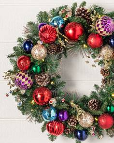 outdoor kaleidoscope wreath by balsam hill - Pre Lit Christmas Wreaths Battery Operated