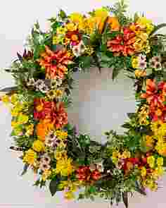 Outdoor Sunrise Dahlia Wreath by Balsam Hill