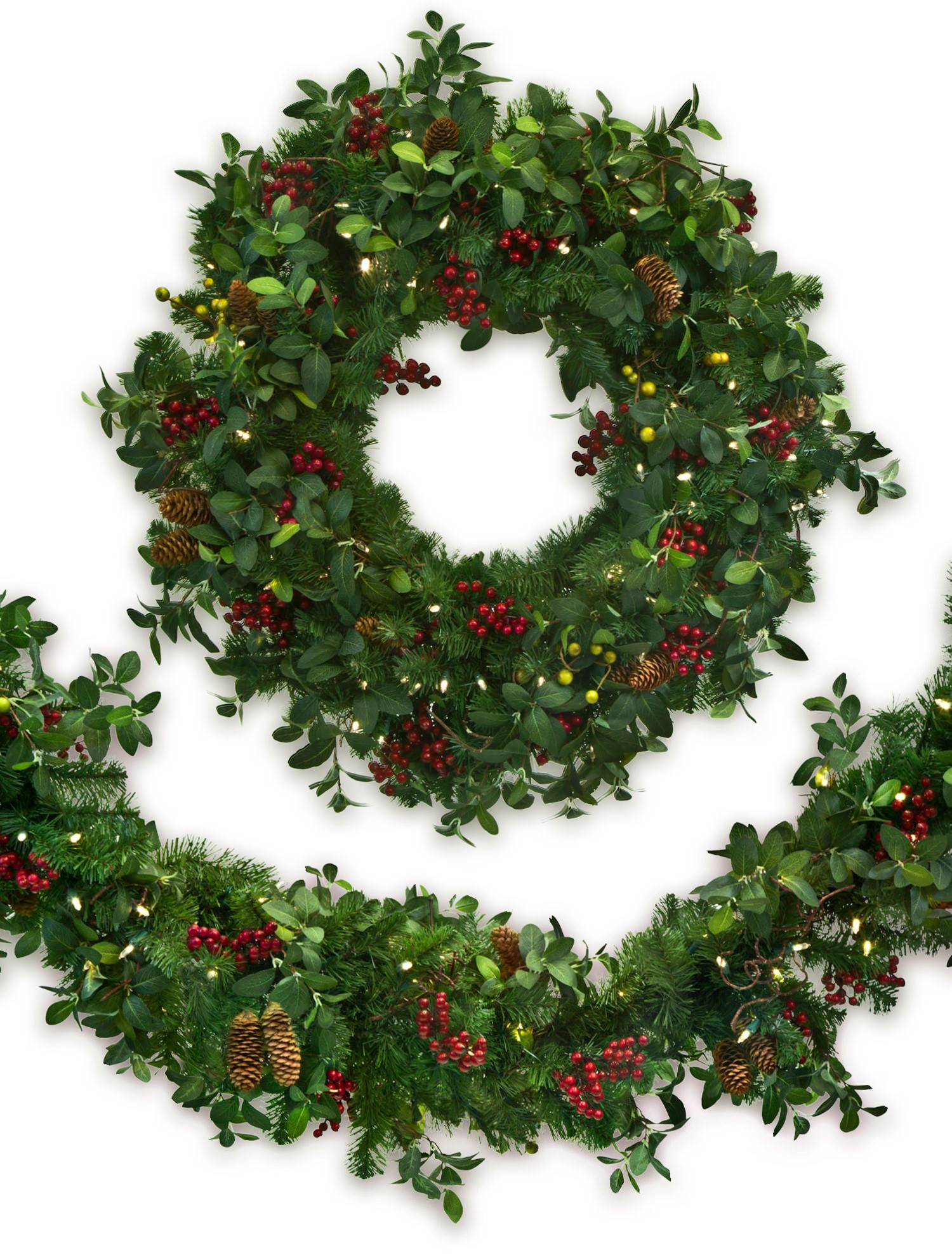 bay laurel with mixed berries main - Christmas Wreath Decorations Wholesale