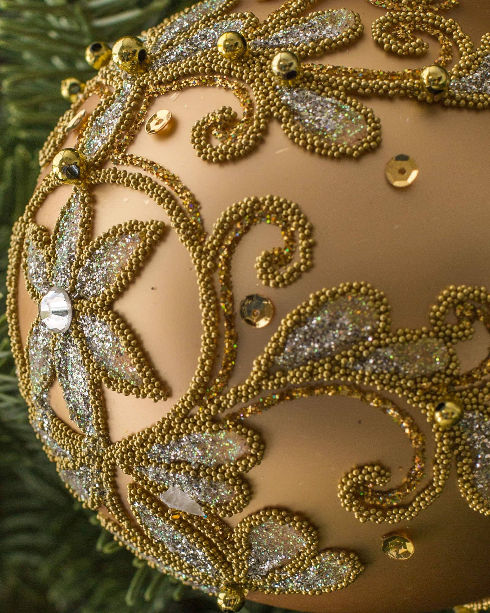 burgundy and gold decorated glass ball ornament set - Glass Christmas Ornaments