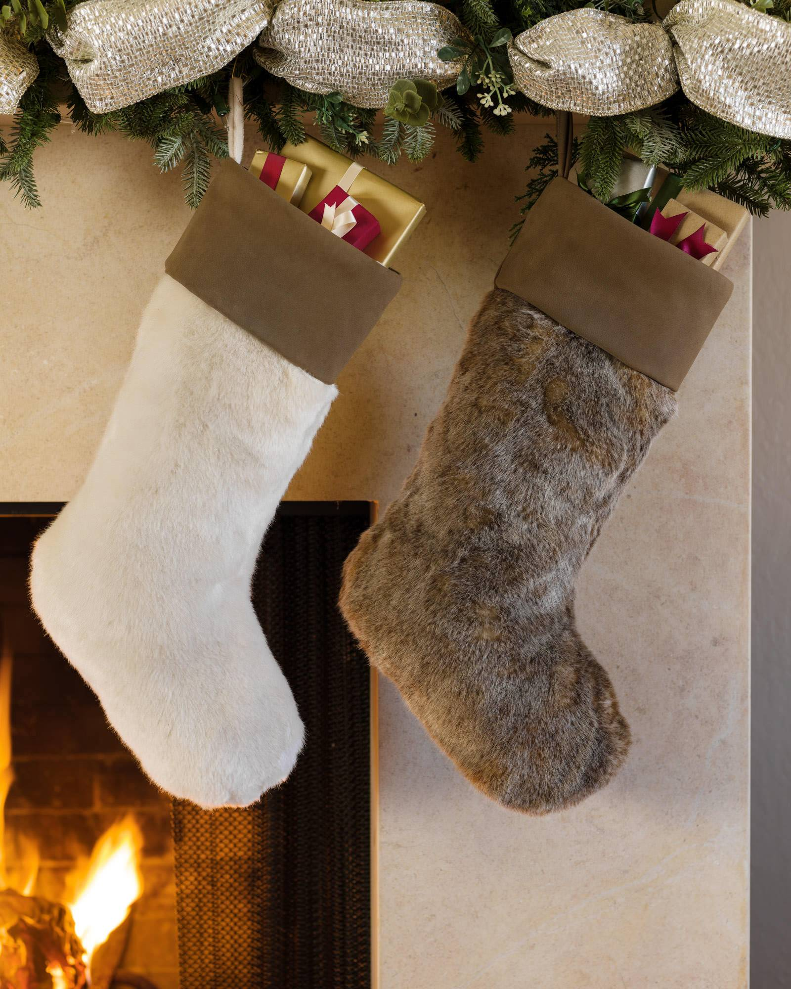 lodge faux fur christmas stocking balsam hill