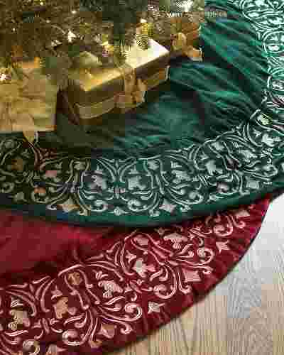 Luxe Embroidered Velvet Tree Skirt by Balsam Hill Main