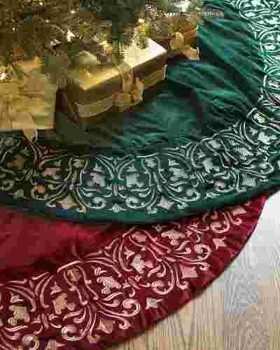 Luxe Embroidered Velvet Tree Skirt by Balsam Hill