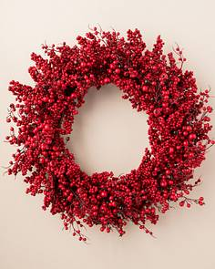 festive red berry wreath 28 inches - Red Christmas Wreath