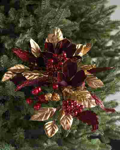 Burgundy and Gold Magnolia Bouquets, Set of 6 by Balsam Hill SSC 10