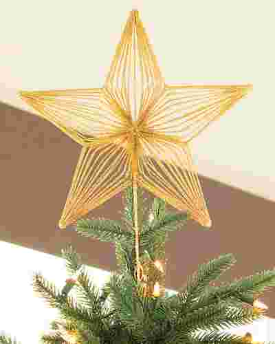 Gold Starry Night Metallic Christmas Tree Topper by Balsam Hill SSC 10