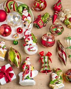 mistletoe and holly glass ornament set 35 pieces main - Christmas Tree Decorations Candy Theme