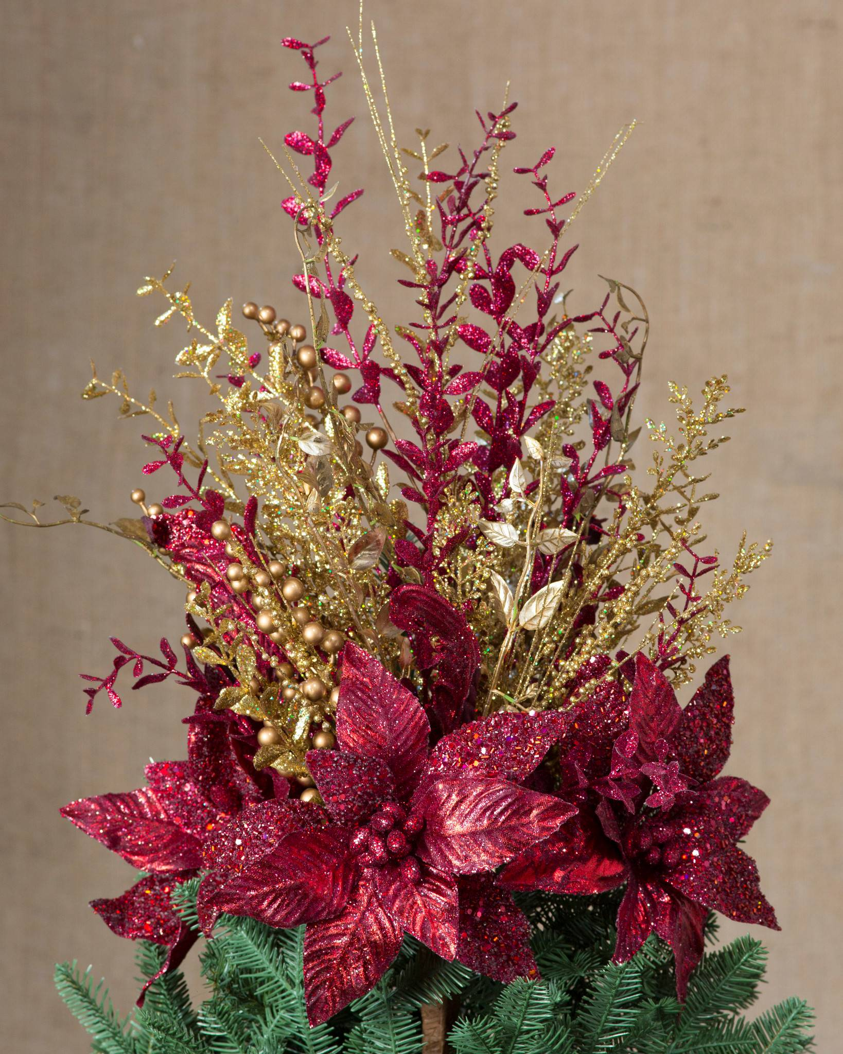 red and gold christmas bouquet tree topper by balsam hill - Red Christmas Flowers