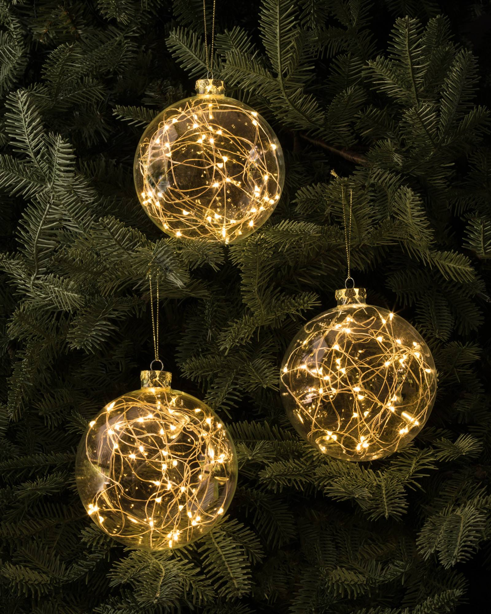 led fairy light ornaments set of 3 main - Christmas Decorations Led Ornaments