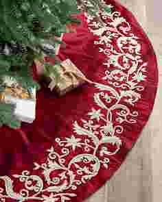 Wine and Pearl Beaded Tree Skirt by Balsam Hill