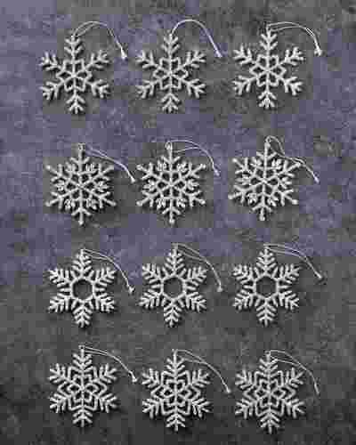Beaded Snowflake Ornaments Set of 12 by Balsam Hill