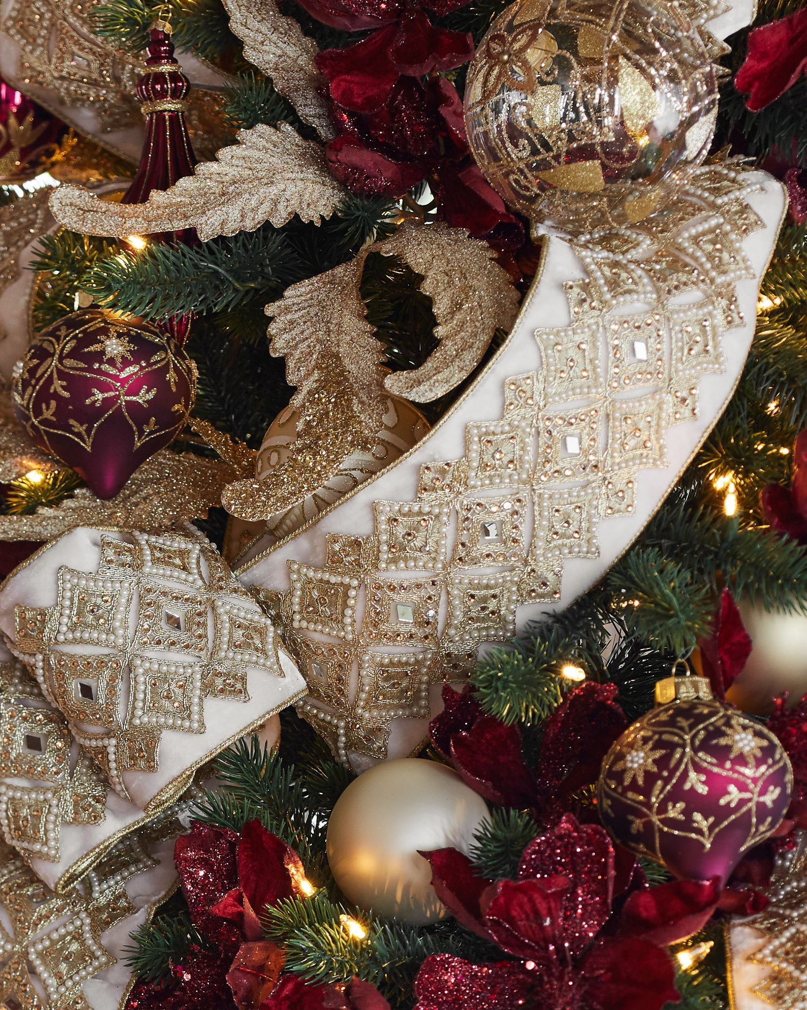 5inx5 Yards Biltmore Gilded Ribbon By Balsam Hill Specialty Christmas Tree