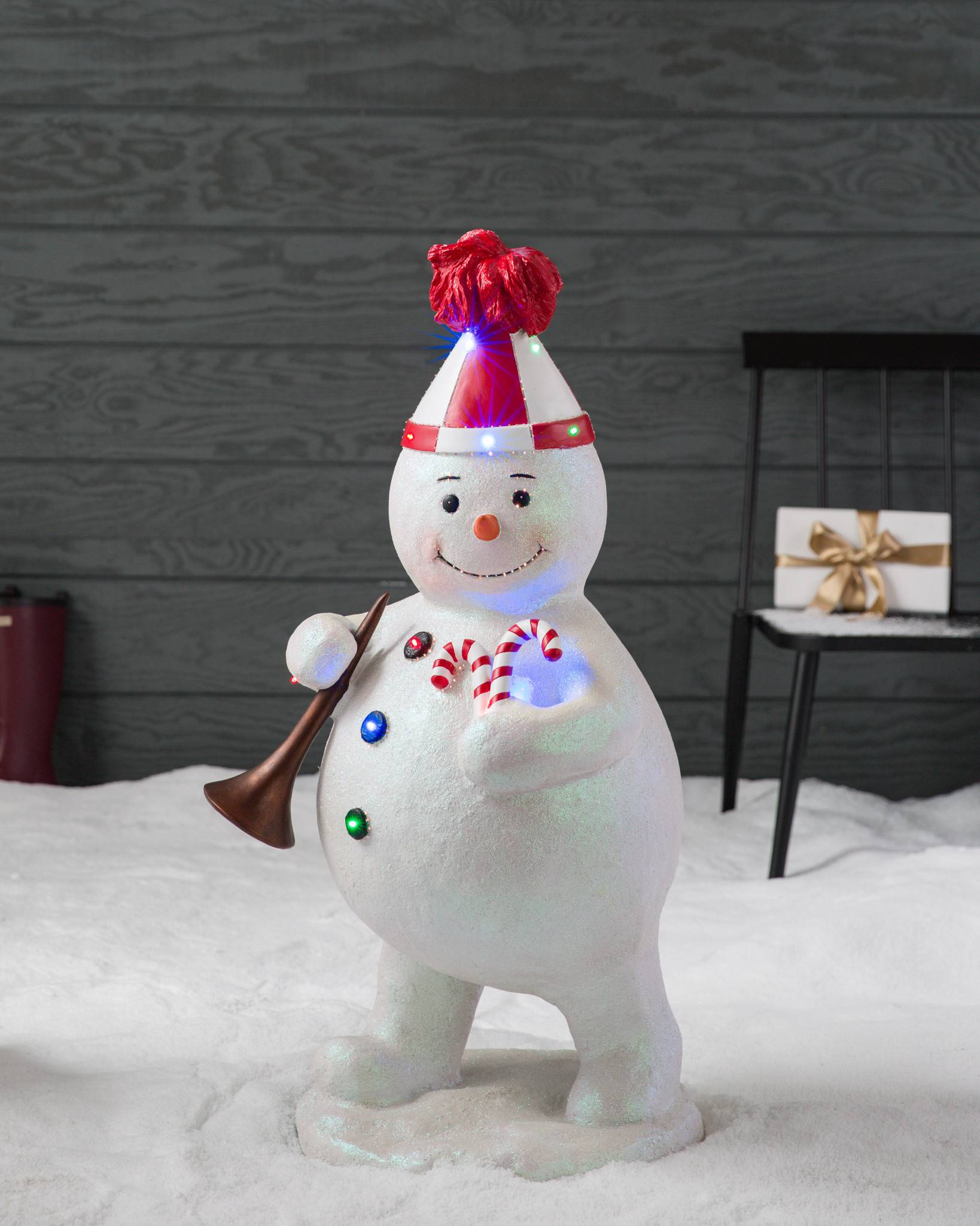outdoor fiber optic snowman with horn by balsam hill