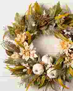 Dahlia & Pumpkin Forest Wreath by Balsam Hill