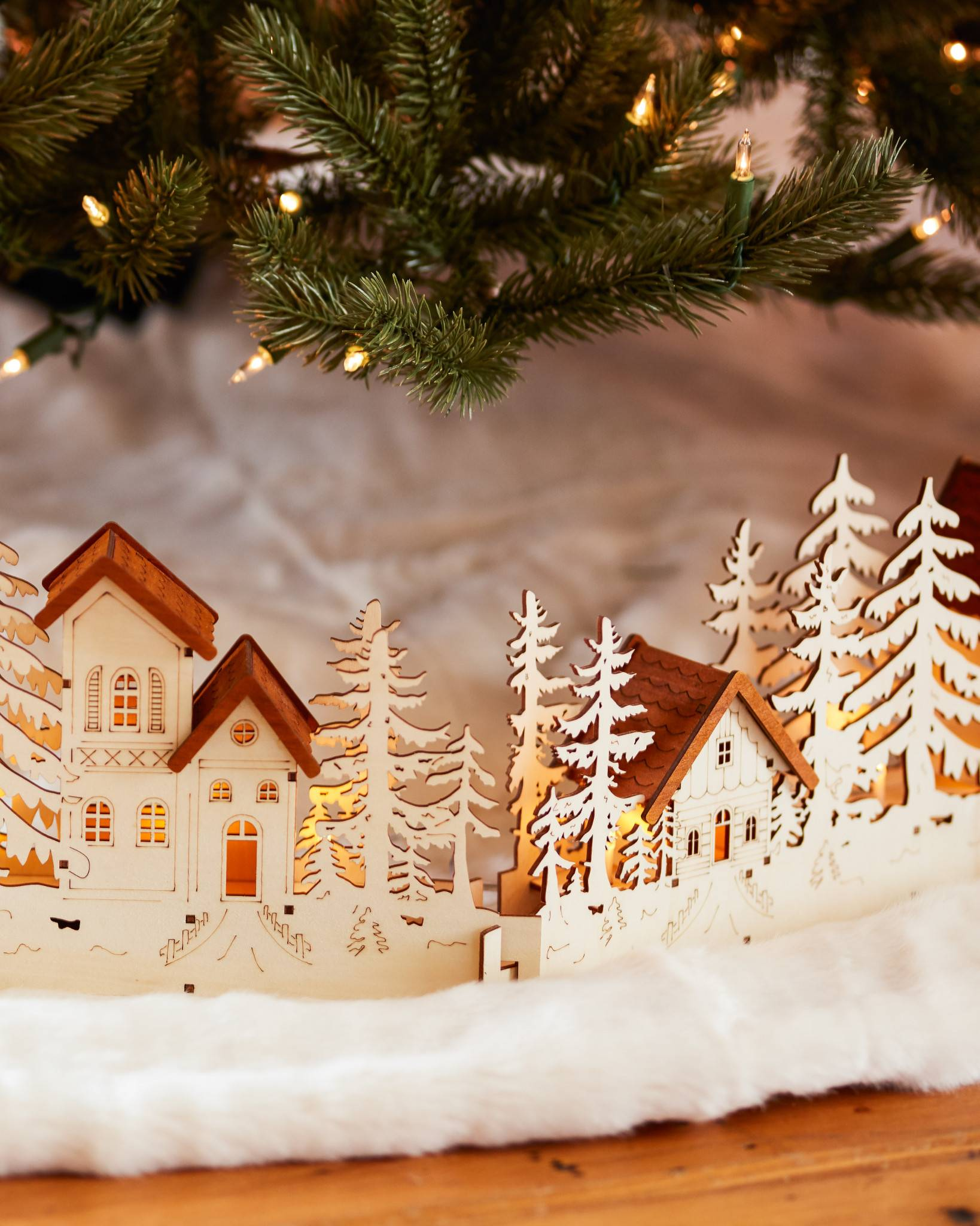 Christmas Village Wood Tree Collar