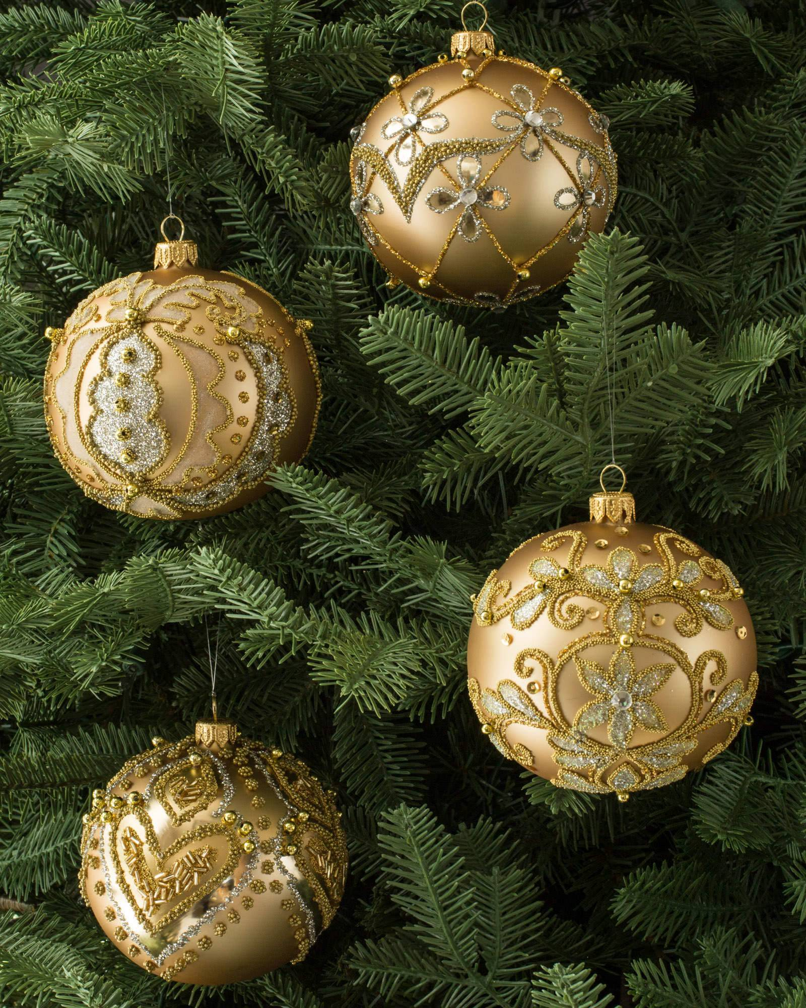 Decorated Glass Ball Ornaments Set Of 4 Balsam Hill