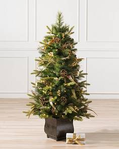 coloma golden pine potted tree main - Topiary Christmas Decorations