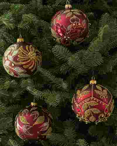 Burgundy and Gold Decorated Glass Ball Ornament Set, 4 Pieces by Balsam Hill SSC 10