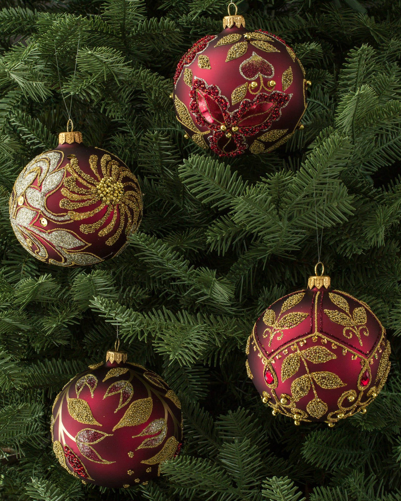 Relatively Set of 4 Decorated Glass Ball Ornaments | Balsam Hill TH97