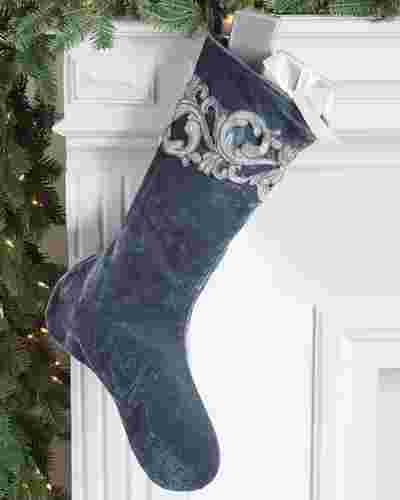 French Blue Velvet Stocking by Balsam Hill