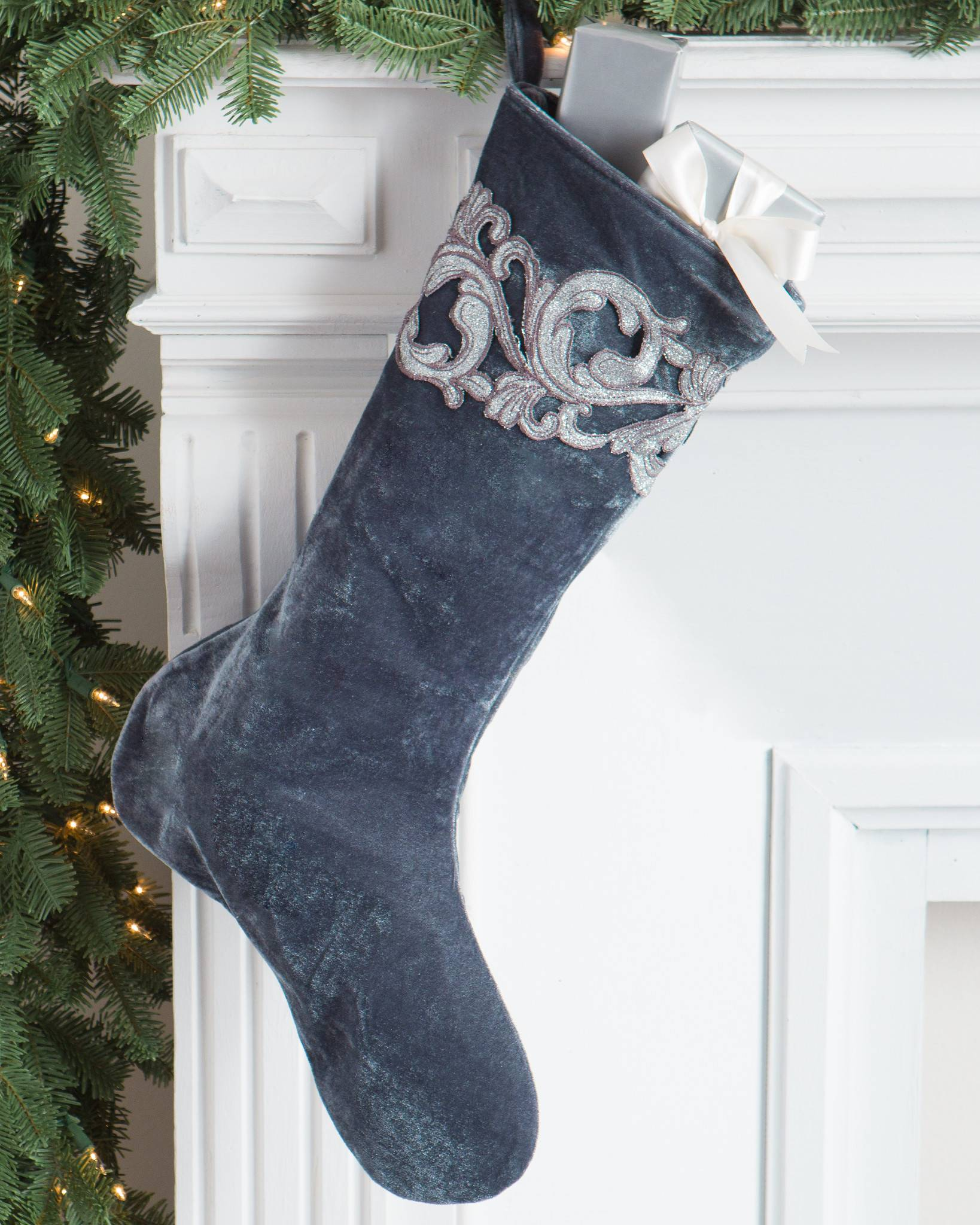 french blue velvet stocking by balsam hill - Blue Grey Christmas Decorations