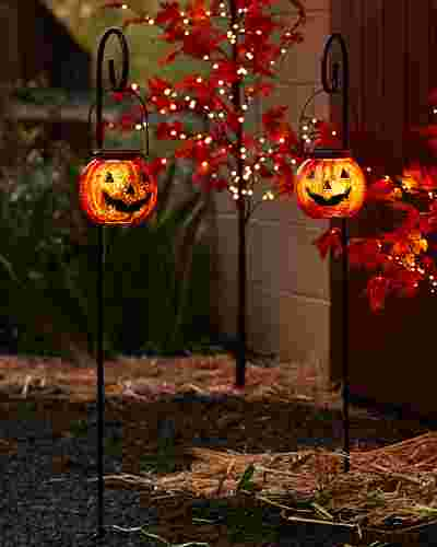 Solar Powered Jack O' Lantern Pathway Lights Set of 2 by Balsam Hill