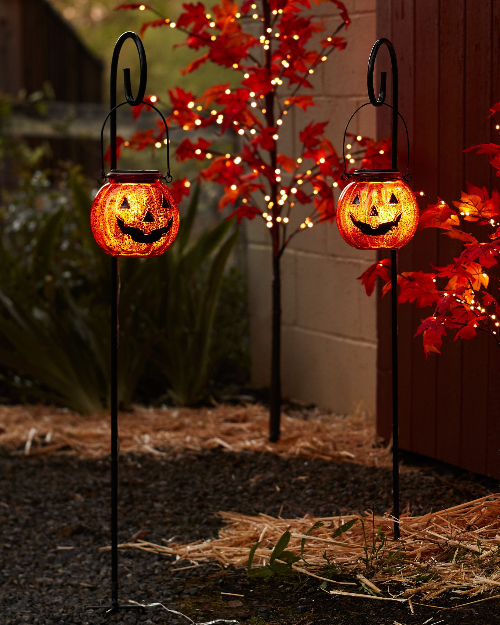 Solar Powered Jack O Lantern Pathway Lights Set Of 2 By Balsam Hill