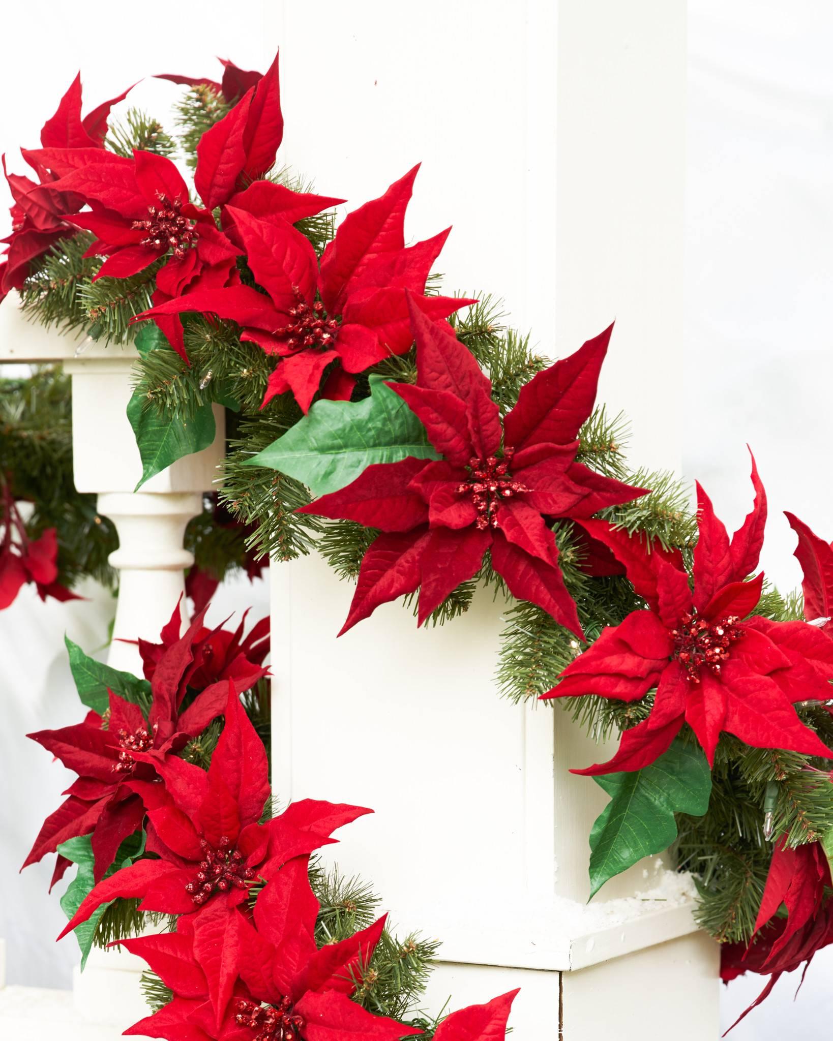 Poinsettia christmas wreath and garland balsam hill uk for 5ft poinsettia garland christmas decoration