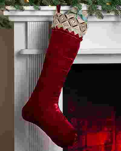Burgundy Biltmore Gilded Christmas Stocking by Balsam Hill
