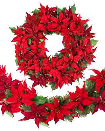 Outdoor LED Poinsettia Wreath Main