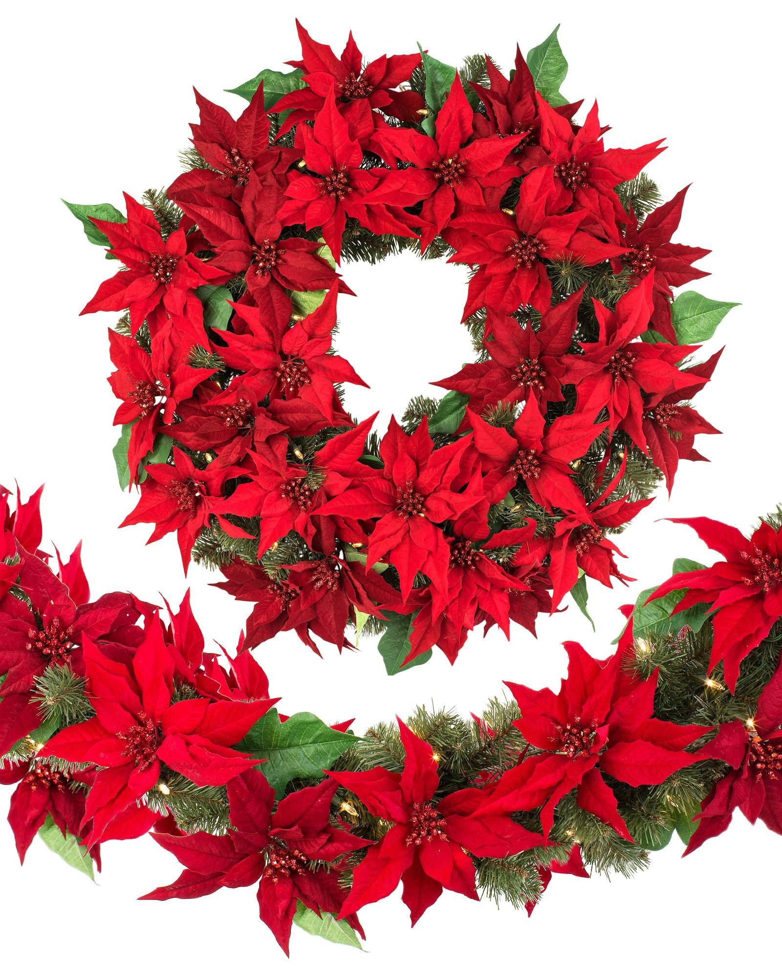Poinsettia christmas wreath and garland balsam hill uk outdoor led poinsettia wreath main mozeypictures Images