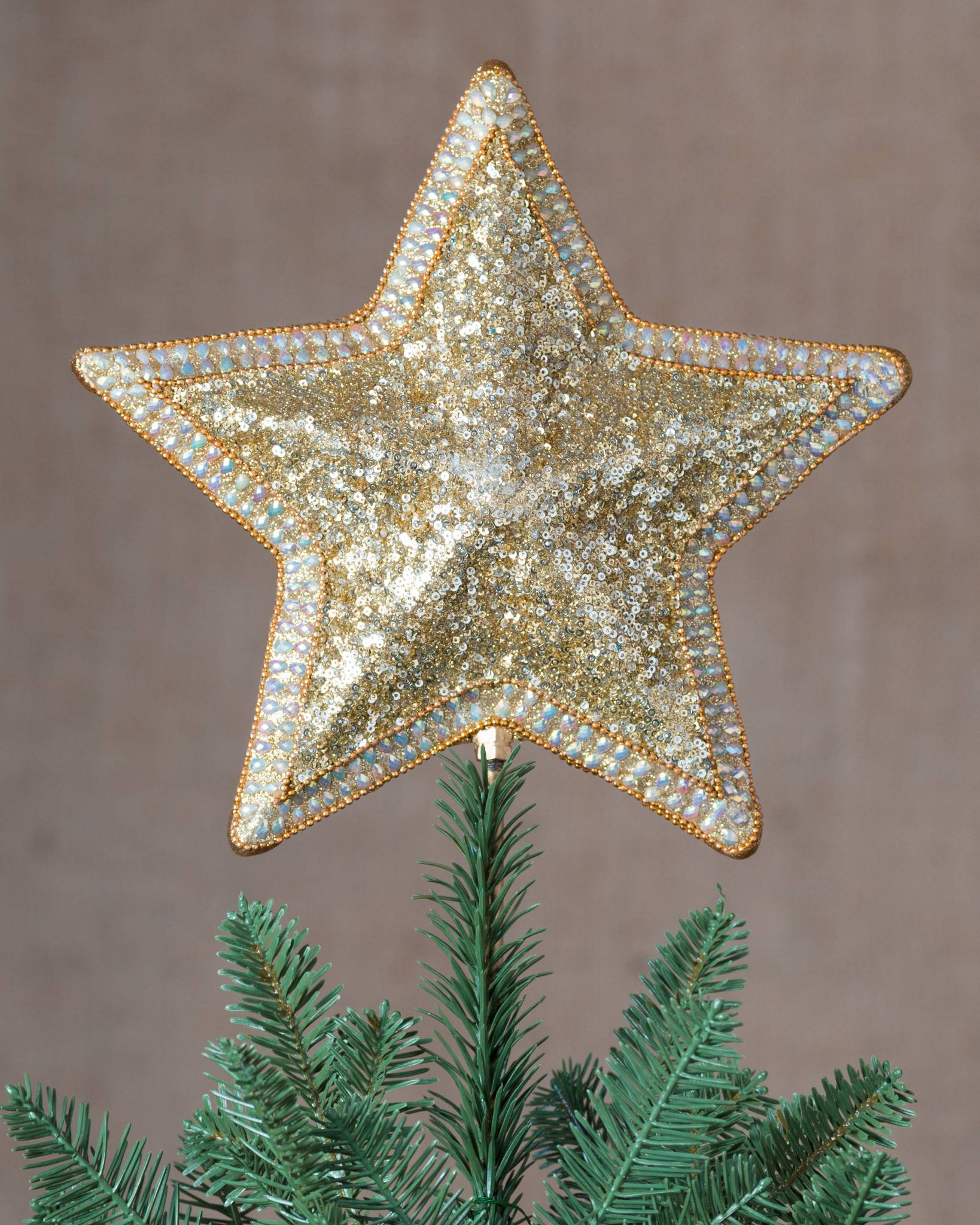 classic star beaded tree topper by balsam hill classic