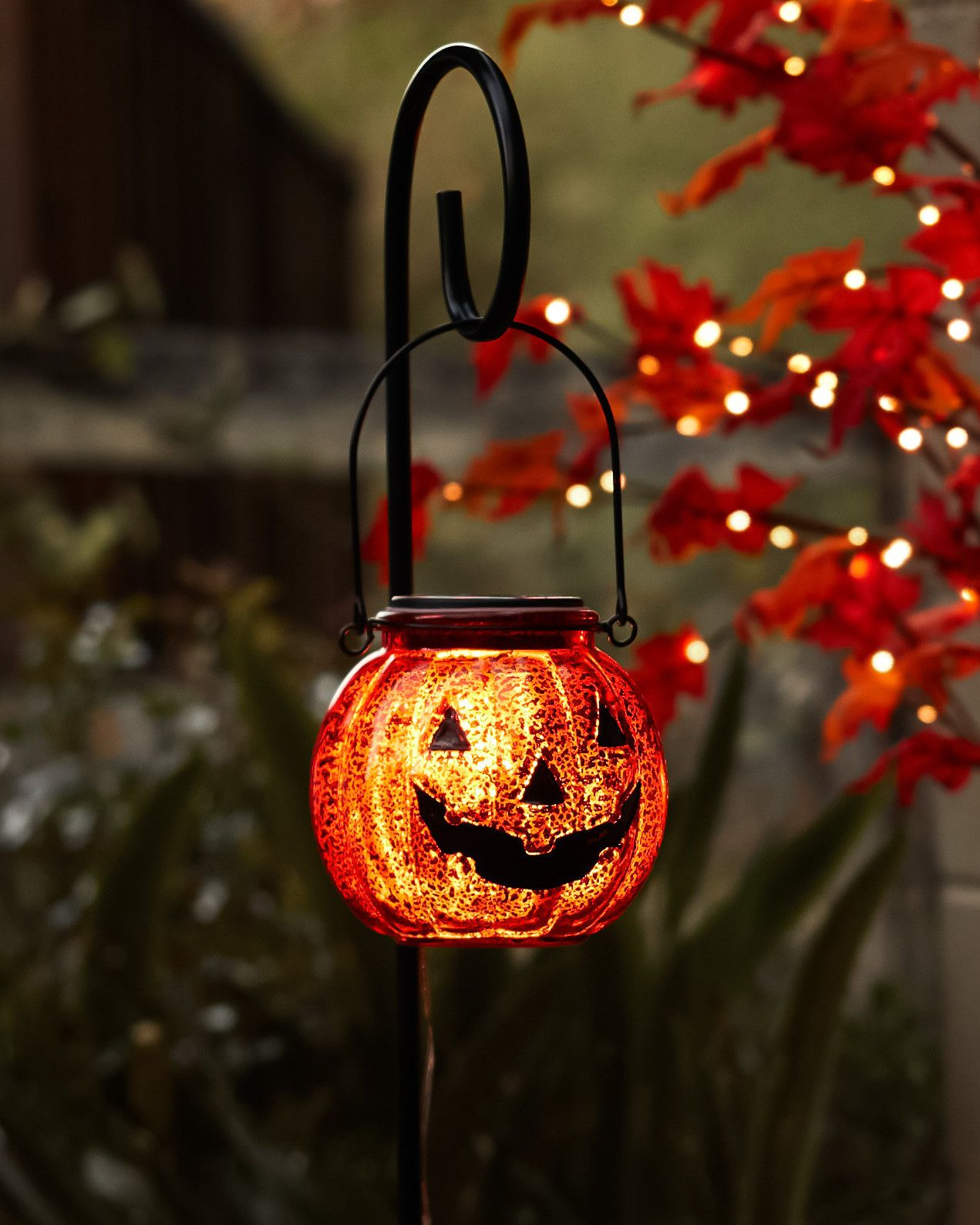 Solar Powered Jack O Lantern Pathway Lights Set Of 2 By Balsam