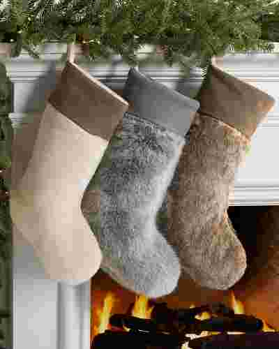 Stone Lodge Faux Fur Christmas Stocking by Balsam Hill