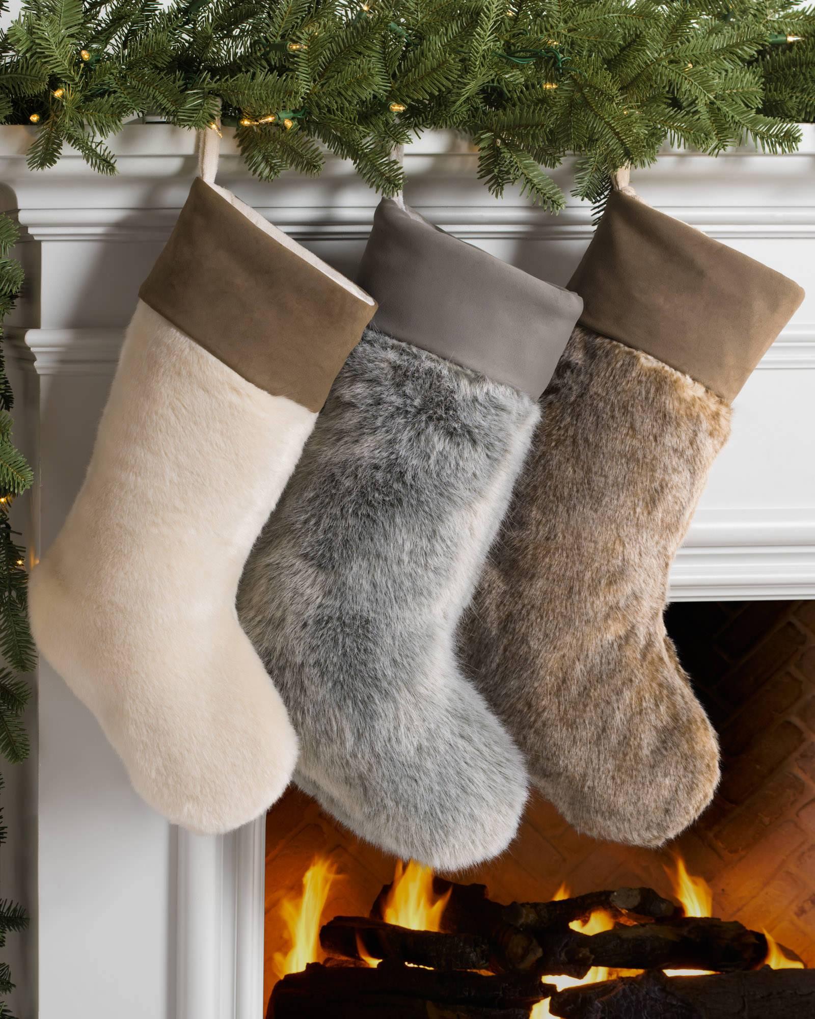 695820db54a Lodge Faux Fur Christmas Stocking
