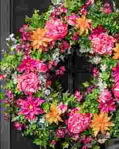 Outdoor Radiant Peony Wreath by Balsam Hill