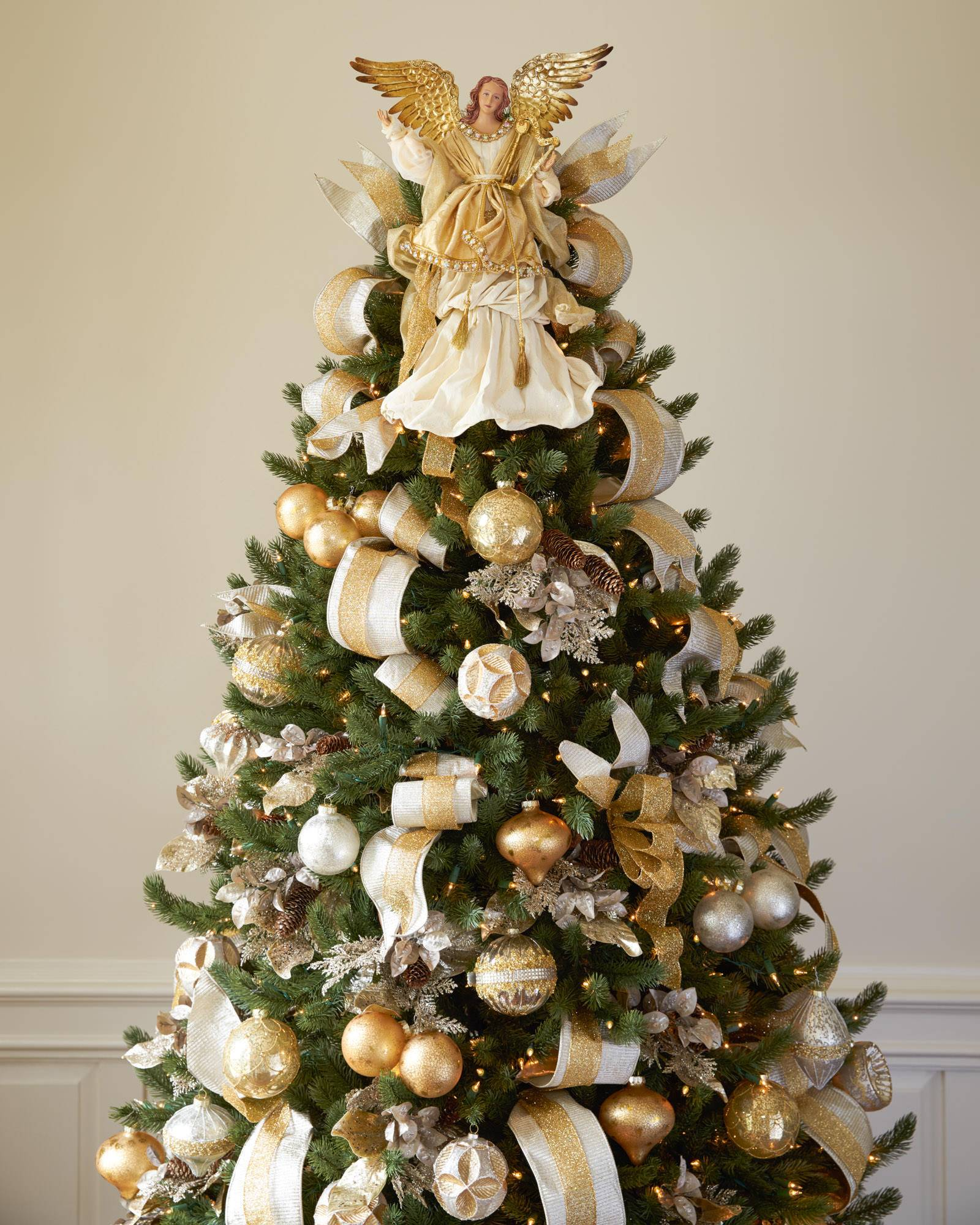 gold angel tree topper alt - How To Decorate A Big Christmas Tree