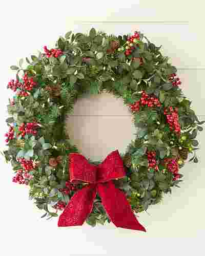 Bay Laurel with Mixed Berries Wreath by Balsam Hill SSC 10