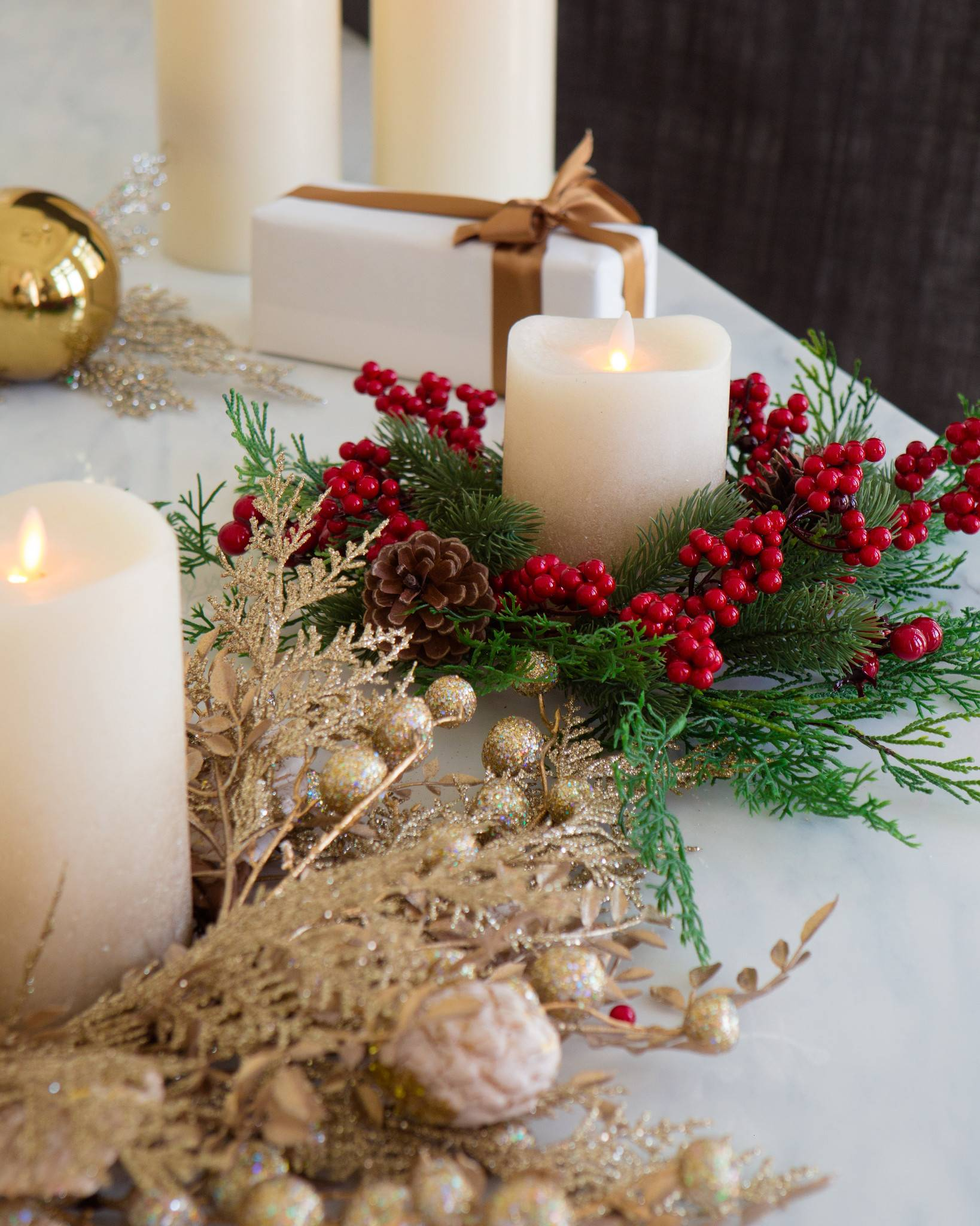 Christmas Candle Rings, Set of 3 | Balsam Hill