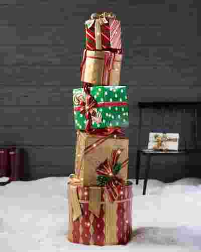 Outdoor Fiber Optic Dazzling Stacked Presents by Balsam Hill
