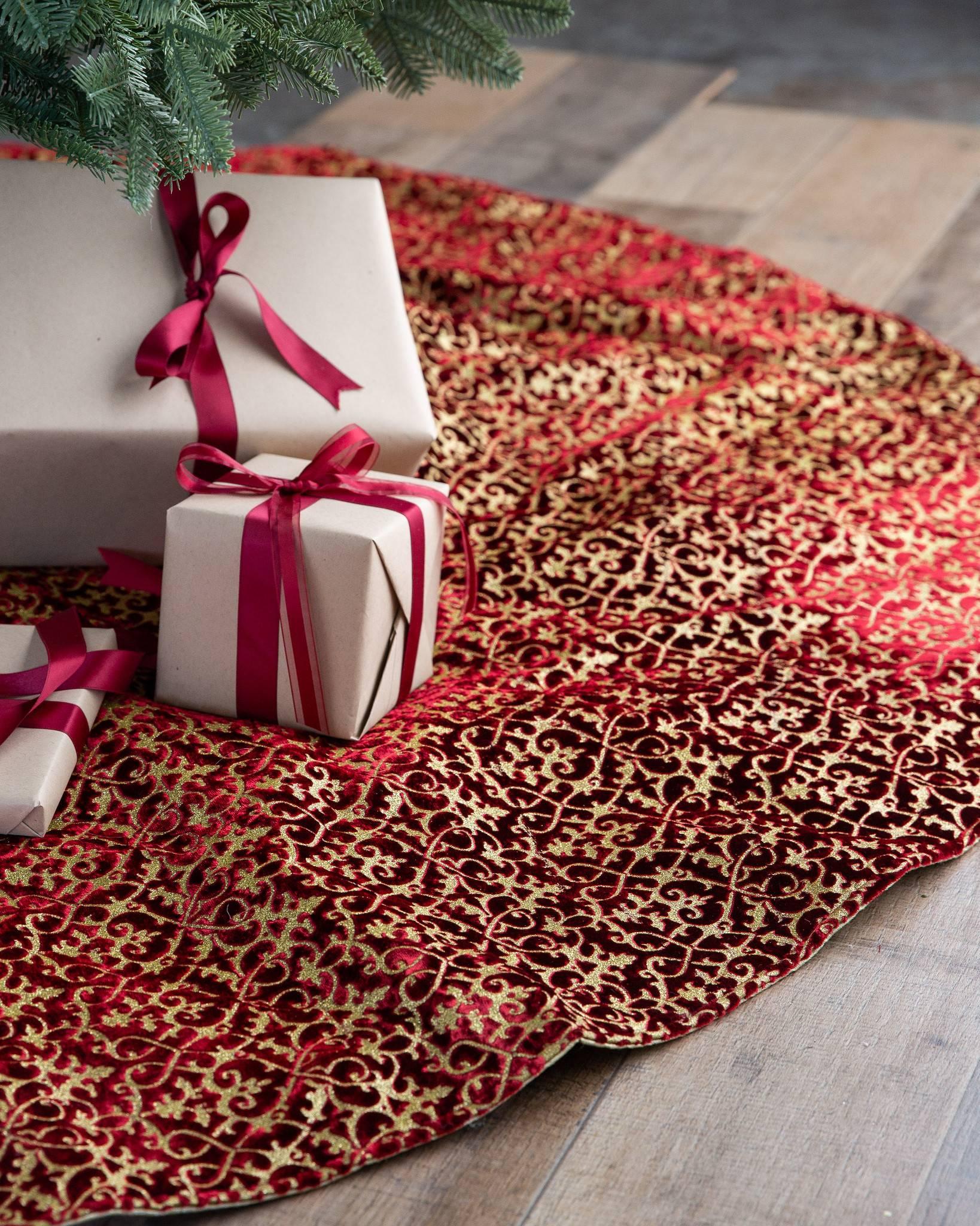 Brocade Velvet Christmas Tree Skirt Balsam Hill