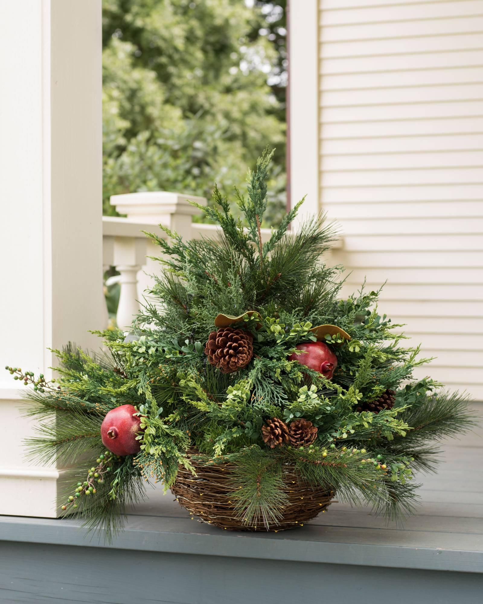Christmas Hanging Baskets.Led Mixed Pine Hanging Basket Balsam Hill Uk